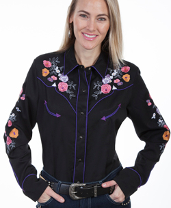 This Scully Womens Pearl Snap Black Western Shirt is embroidered with a multi color of roses retro purple piping and pearl snaps on front and cuffs with smiley pockets included back embroidered roses with arrow piping.