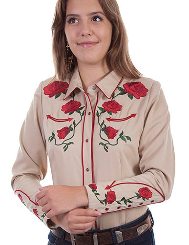 This Scully Women's Red Rose Embroidered Tan Western Shirt is heavily embroidered with red roses on the front and back yokes rose sleeves and red smiley pockets and retro piping with pearl snaps.