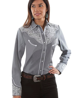 This Scully Women's Grey Lace Western Shirt is heavily embroidered with white lace designs on the front and back yokes and sleeves with white retro piping smiley pockets and pearl snaps an elegant cowgirl shirt.