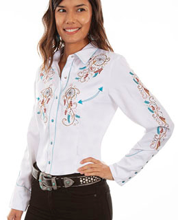 This Scully Women's Dream Weaver White Western Shirt is heavily embroidered with southwestern dream catcher and feathers candy cane retro piping smiley pockets and pearl snaps cowgirl shirt.