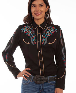 This Scully Women's Embroidered Feathers Black Denim Western Shirt has embroidered feathers with lots of southwestern turquoise red golden piped smiley pockets and pearl snaps a sassy cotton western cowgirl shirt.
