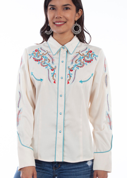 This Scully Womens Embroidered Western Shirt is embroidered in Turquoise red and brown feather designs front back and down the sleeves with Retro piping and pearl snaps front and bottom cuffs with smiley pockets.