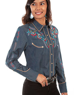 This Scully Women's Embroidered Feathers Blue Denim Western Shirt has embroidered feathers with lots of southwestern turquoise red with golden piped smiley pockets and pearl snaps a sassy cotton western cowgirl shirt.