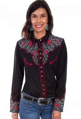 This Womens Scully White Scroll Red Rose Smiley Pocket Western Shirt is a popular matching western shirt for his and hers matching shirts with embroidered roses red piping smiley pockets matching pearl snaps.