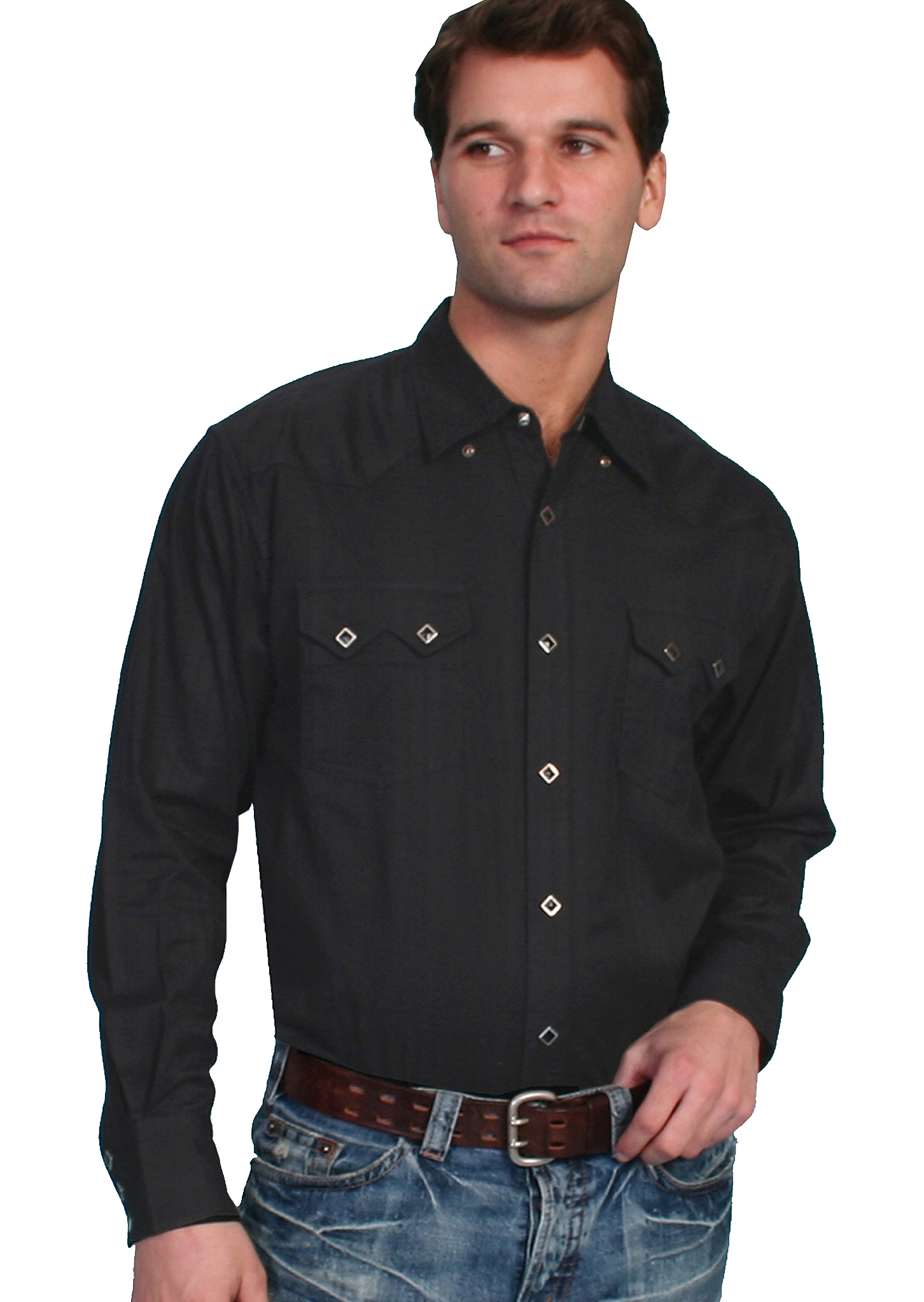 Mens Scully Sawtooth pocket dobby stripe Black western shirt, scully western shirt, denim scully shirt, western shirt, mens western shirt, scully shirt