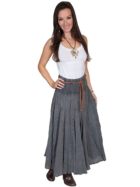 This Scully Womens Charcoal Grey Full Length Western Skirt is a big hit at a hoedown. Elastic waist band makes an easy fit for women on the go. The Country Western Style looks great with this dark blue womens skirt.