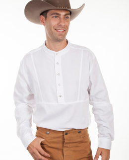 White Western Tuxedo Shirt Large-4X Black Banded Collar Indian Head Buttons