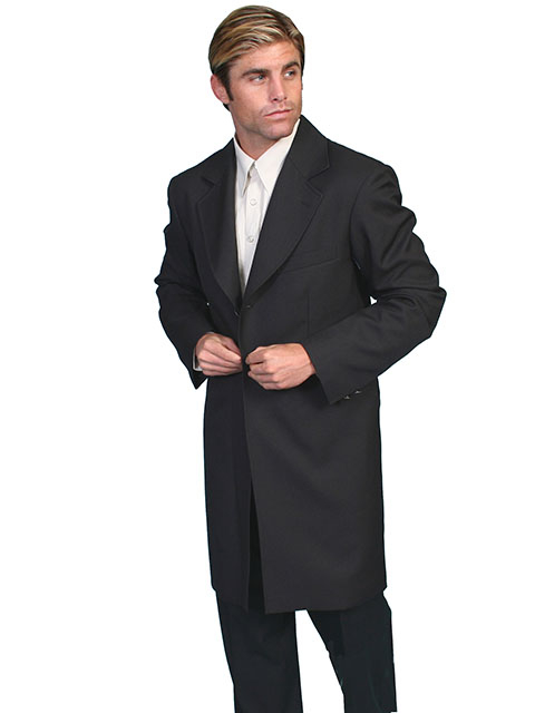 This Mens Scully Old West Frock Long Black Dress Coatt with authentic tailoring and construction.Features 2 front flap pockets, left chest pocket and 2 inside chest pockets.2 stamped metal buttons on back vent