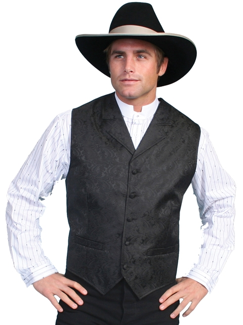 This Scully Mens Black Paisley Dress Lapel western vest for western weddings or cowboy western dress vest with classic paisley print covered button front and welt pockets with back adjustable strap.