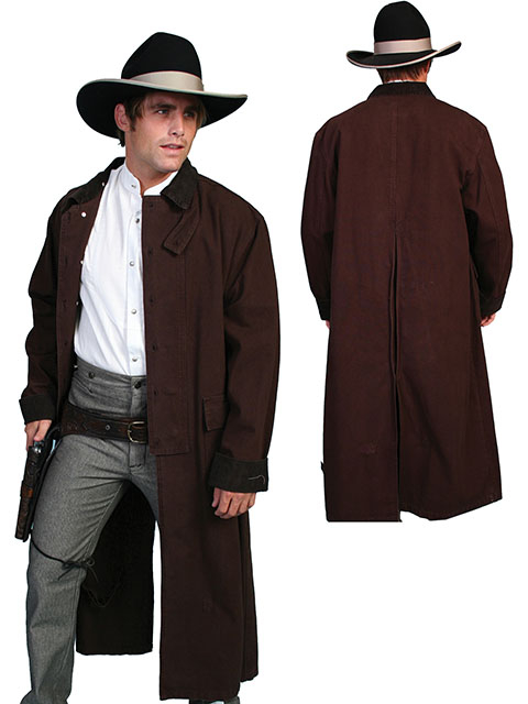 This Scully Walnut Canvas Authentic Frontier Duster is a 3/4 Length Classic authentic canvas duster with corduroy collar and cuffs. It also features metal buttons, saddle gusset and inside leg straps for bad weather riding.