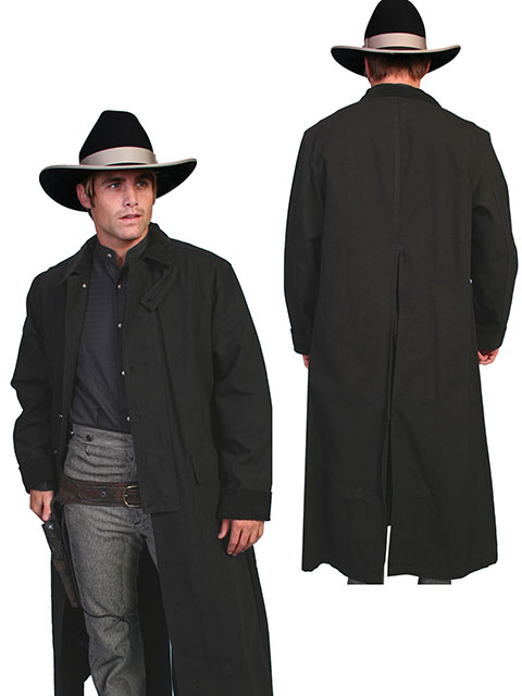 This Scully Black Canvas Authentic Frontier Duster is a 3/4 Length Classic authentic canvas duster with corduroy collar and cuffs. It also features metal buttons, saddle gusset and inside leg straps for bad weather riding.
