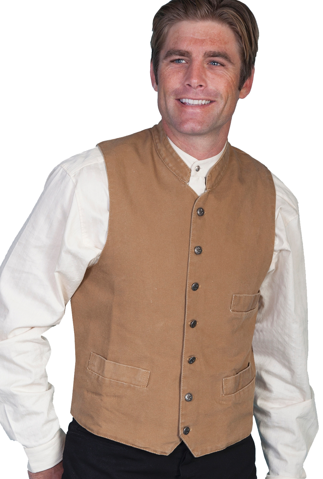 0914f60b9 Scully Mens Cotton Canvas Brown Western Banded Collar vest