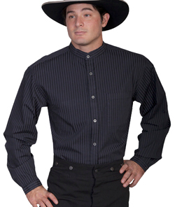 This Mens Scully Black Tone on Tone Banded Collar Shirt is great for dress up or casual wear. The black shirt features contrasting tone on tone stripes on a banded collar and a full button front complete with a left chest pocket.