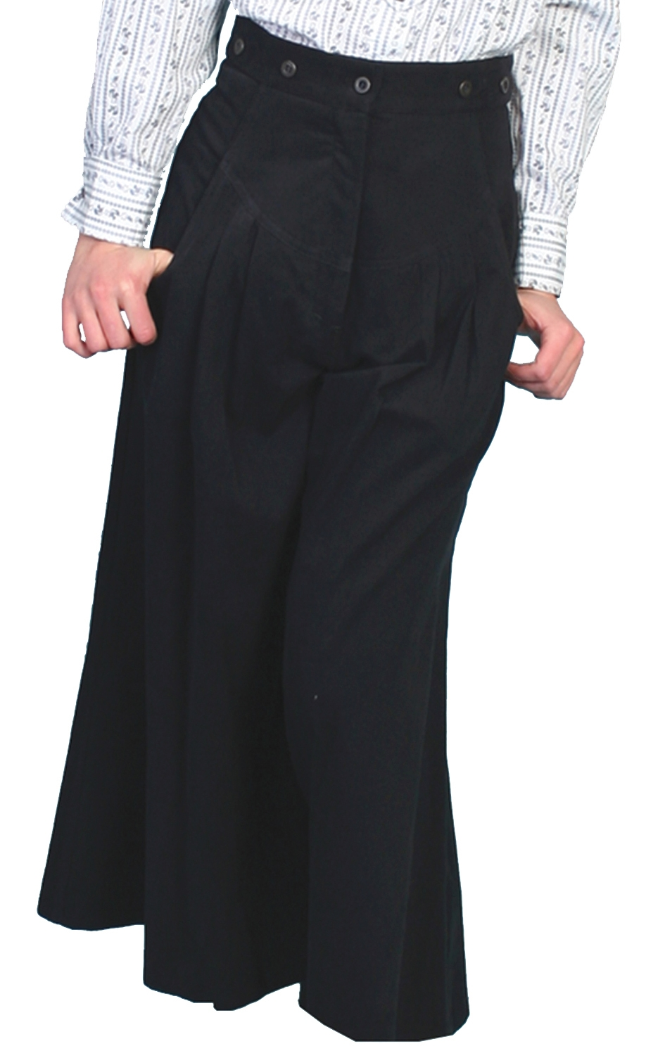 The Scully USA made Womens black pleated riding pants are an authentic look for women who love the comfort of the old west.