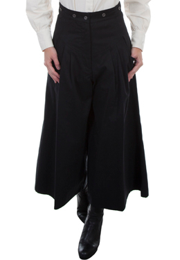 These lovely Scully Womens black pleated riding pants are made in the USA with comfortable and fashionable brushed twill cotton authentic 1800's old west womens split skirt with front pockets and pewter buttons for suspenders.
