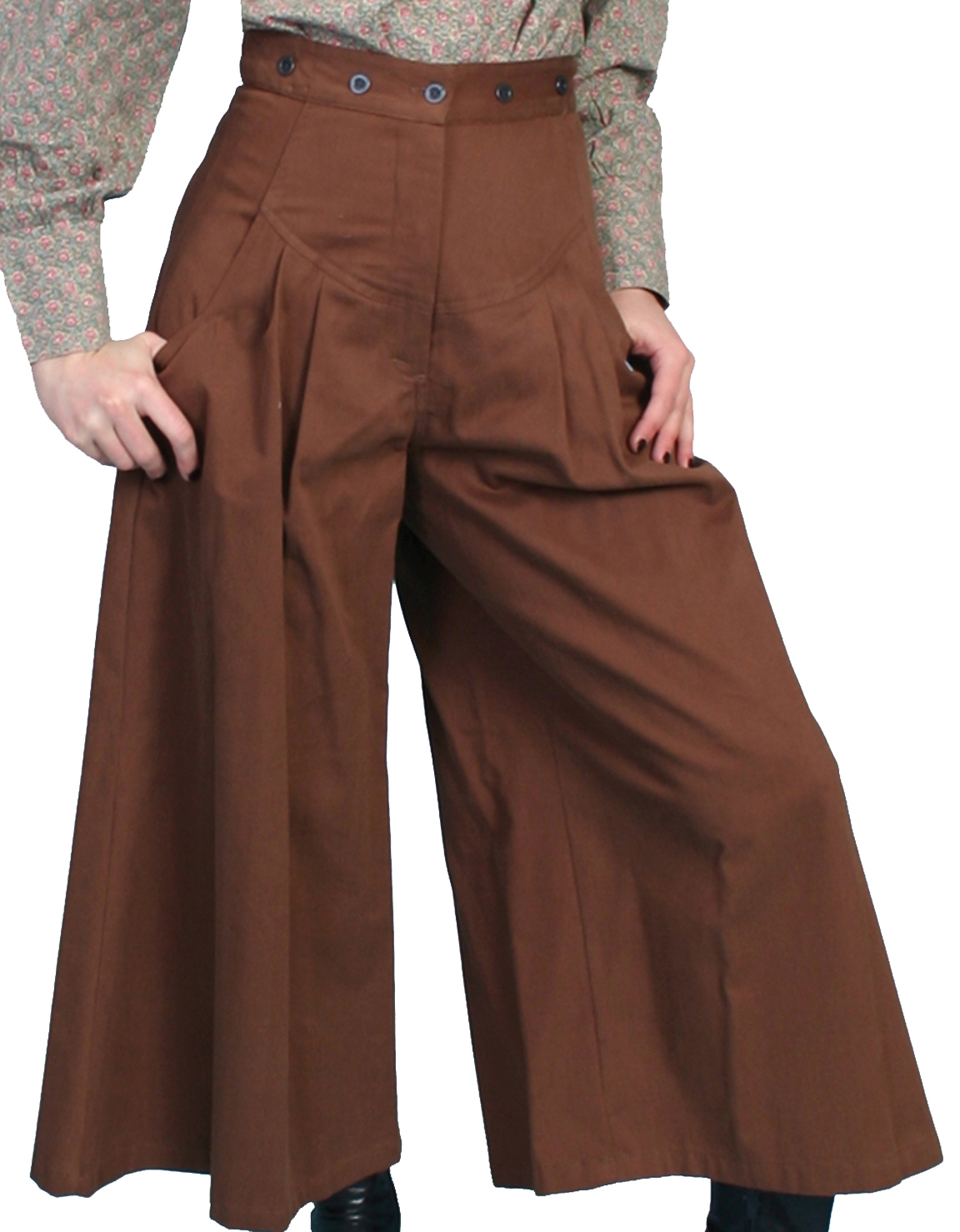These lovely Scully Womens Brown pleated Petite riding pants are made in the USA with comfortable fashionable brushed twill cotton authentic 1800's old west womens split skirt with pewter buttons for suspenders.