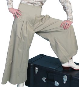 These lovely Scully Womens Tan pleated riding pants are made in the USA with comfortable and fashionable brushed twill cotton authentic 1800's old west womens split skirt with front pockets and pewter buttons for suspenders.