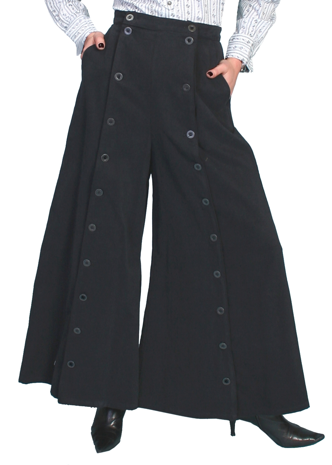 This Scully USA made Brushed twill Womens black riding pants are so comfortable for sitting stranding and riding or an authentic 1800's old west frontier style and fits great with your steampunk clothing.