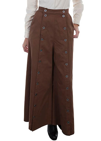 This Scully USA made Brushed twill Womens Brown riding pants are so comfortable for sitting stranding and riding or an authentic 1800's old west frontier style and fits great with your steampunk clothing.