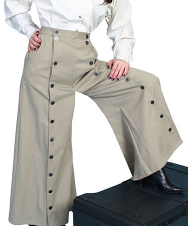 This Scully USA made Brushed twill Womens Tan riding pants are so comfortable for sitting stranding and riding or an authentic 1800's old west frontier style and fits great with your steampunk clothing.