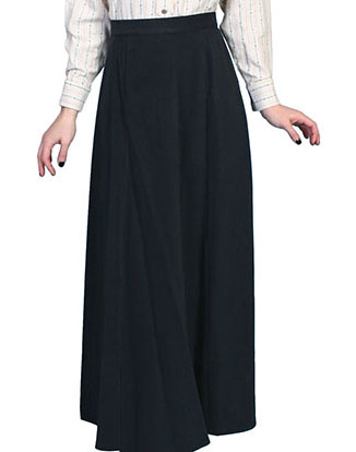 "This Scully Womens USA Made 1800's Black Vintage Full Length Skirt has a smooth fitting front panel and small pleats at the back for fullness and features a back button closure. Approx length 42"". 100% cotton and Made in the USA."