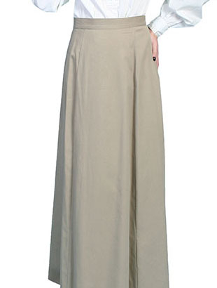 "This Scully Womens USA Made 1800's Tan Vintage Full Length Skirt has a smooth fitting front panel and small pleats at the back for fullness and features a back button closure. Approx length 42"". 100% cotton and Made in the USA."