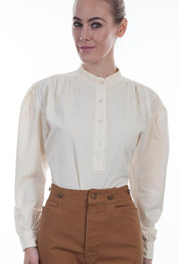 This Womens Scully 1800s Banded Collar Ivory Pullover Blouse is durable with traditional pull over style old western womens frontier shirt with pleated gathers in shoulders and sleeves on a banded collar 100% cotton ladies shirt