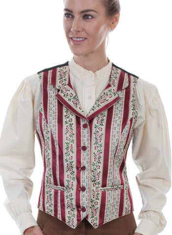 This Womens Scully Burgundy Barber Shop Classic 1800's Lapel Vest has classic wallpaper stripes a bold floral design with notched lapels, two welt pockets, self covered buttons matching vests available.