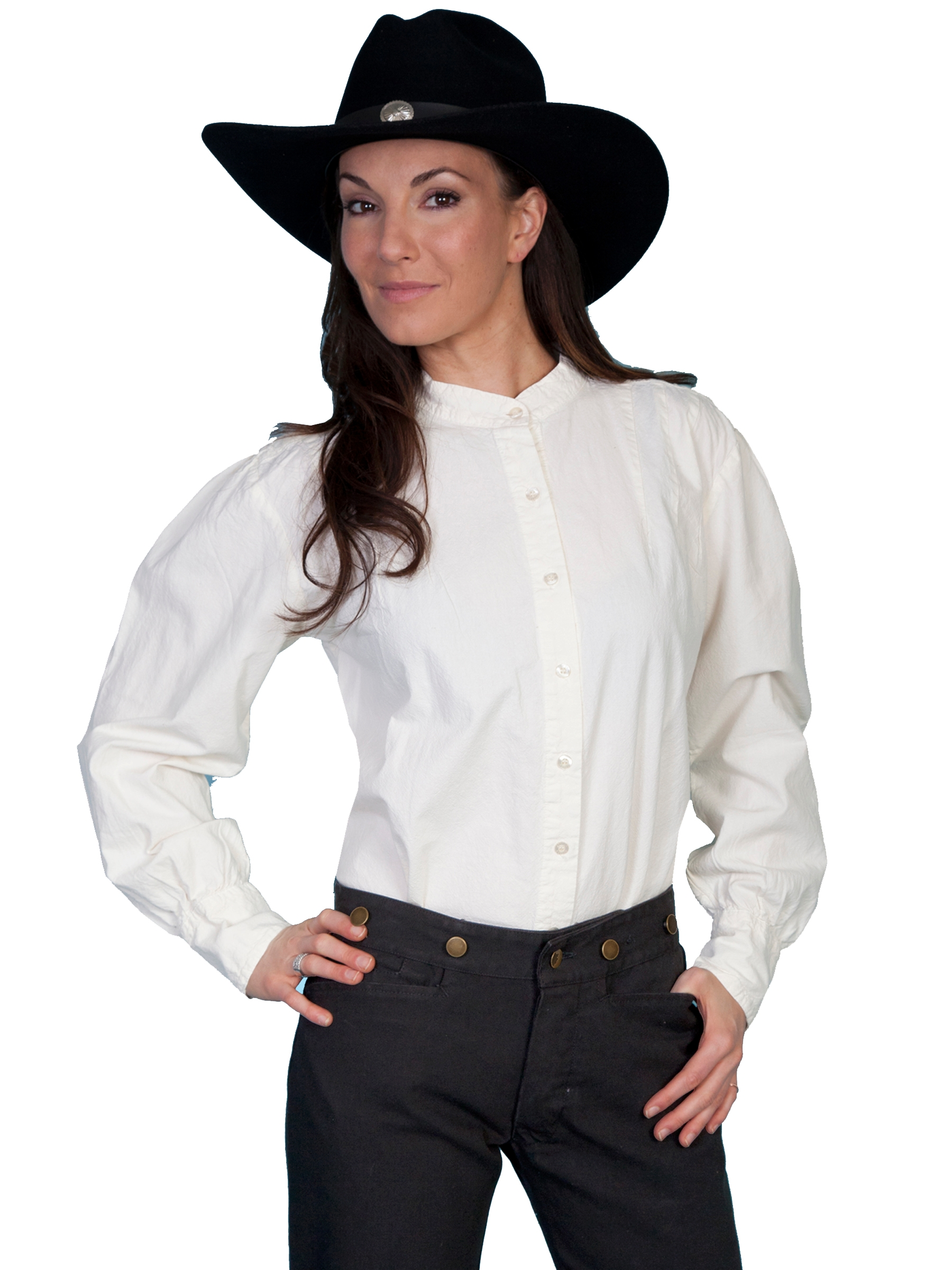 Womens Scully Ivory Banded Collar Western Shirt