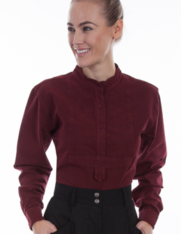 This Womens Scully Paisley Bib front Burgundy blouse is a classic pullover style bib shirt for women an old time Victorian look with a banded collar and has a paisley center in a feminine front bib wit gathered center back for extra comfort.