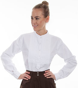 This Womens Scully 1800's pullover White Bib blouse has a paisley embroidered insert bib with shirt tab gathered center back extra comfort, an old time victorian womens shirt in a pull over style formal old frontier clothing
