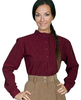 This Scully Womens Paisley Round Bib front Burgundy blouse is a classic pullover style bib shirt for women with a banded collar and has a paisley center in a feminine rounded front bib wit gathered center back