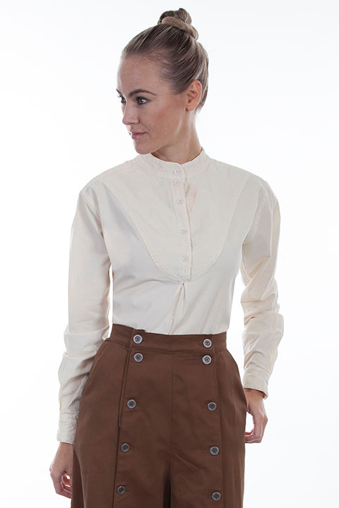 This Ladies Scully Embroidered Bib front Ivory 1800's Blouse is a classic pullover style bib shirt for women with a banded collar and has a paisley center in a feminine rounded front bib wit gathered center