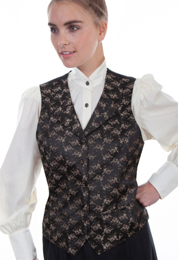 This Womens Scully Victorian Brown Floral Lapel Vest steampunk or old west with notched lapels, two welt pockets, self covered buttons and an adjustable back strap great for womens authentic 1800s frontier clothing.