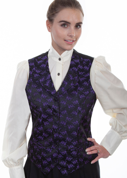 This Womens Scully Victorian Purple Floral Lapel Vest steampunk or old west with notched lapels, two welt pockets, self covered buttons and an adjustable back strap great for womens authentic 1800s frontier clothing.