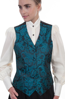 This Womens Scully Victorian Turquoise Teal Paisly Vest steampunk or old west with notched lapels, two welt pockets, self covered buttons and an adjustable back strap great for womens authentic 1800s frontier clothing.
