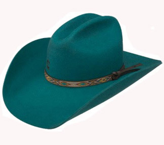 "The ""Teal With It"" Charlie 1 Horse Teal Wool Cowboy Hat is made in the USA by the Stetson company with 100% wool features a native american or southwestern style hat band on a gus crown a real show stopper cowgirl hat"