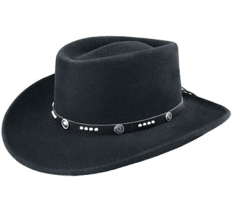 "This ""Joker"" Black wool Bailey USA MADE Cowboy hat is a black Litefelt® telescope crown old west frontier cowboy hat with a black leather band and studs with conchos sporting deck of cards symbols in the center."