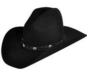 The Redhill Bailey Western Cowboy Hat is an awesome autumn and winter western hat. It has a twisted leather hatband with metal star studs, and the interior boasts a Dri-Lex sweatband. Made in the U.S.A