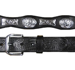 Adult Silver Oval and Ferrules Black Leather Western Belt, Adult Silver Concho Brown Leather Western Belt, Adult Bucking Bronco Silver Concho Leather Western Belt, Adult Tooled Leather Brown Western Belt,