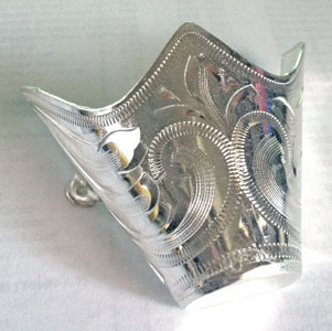 These Laser Etched Silver Cowboy Boot Tips are an extra large size for your cowboy boots or protect them from normal wear with sterling silver plated toe rands.