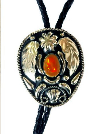 The Silver Leaf Tiger Eye Stone Bolo Tie is a beautiful sterling silver plated large bolo with inner stone and a raised leaf design that will dress up any cowboy or cowgirl shirt.