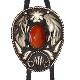 The Silver Leaf Red Coral Bolo Tie is a beautiful sterling silver plated large bolo with a red inner stone and a raised leaf design that will dress up any cowboy or cowgirl shirt.