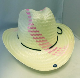 This Pink weaved straw babies 1st cowboy hat is a simple and soft cowboy hat for little cowgirls fitting newborn to 1 year old.