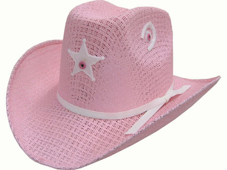 Toddler Tight-weave pink Cowboy Hat with Star w Elastic fb2520508e6