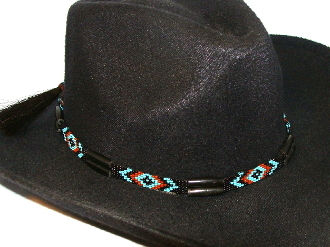 "This ""Turquoise Navajo"" Horse hair Black bone beaded hat band is hand made in the USA with genuine horse hair tassels closure with turquoise black and rust beads for all cowboys and cowgirls."