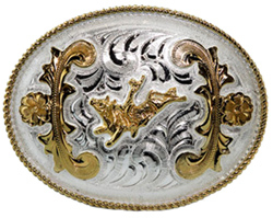 "This 4"" Sterling Silver Gold Plated Bull Rider Belt Buckle is a great addition to your cowboy belt with this beautiful etched Sterling silver oval shaped belt buckle and gold plated man on a bucking bull."