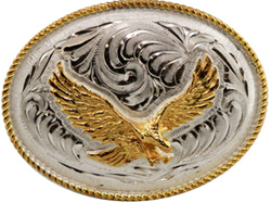 "This 3.5"" Sterling Silver Gold Eagle Belt Buckle is a great addition to your cowboy belt with this beautiful etched Sterling silver oval shaped belt buckle and gold plated soaring Eagle for any western cowboy."