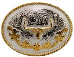 "This 3.5"" Sterling Silver Gold Plated Longhorn Oval Belt Buckle is a great addition to your cowboy belt with this beautiful etched Sterling silver oval shaped belt buckle and gold plated Longhorn for any western cowboy."