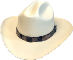"""The Texan Jr"" Kids Canvas Cream Straw Cattleman Cowboy for cowboys or cowgirls is the staple kids cowboy hat in easy to take care of coated canvas mimics straw cowboy hats with easy one size stretch band fittings"